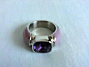 Joop! Ring Damenring, lila-silber (Edelstahl), Größe 53 (16,9 mm)