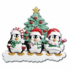 Personalized Penguin Christmas Ornament Family of Three-Grandkids, Coworkers BFF