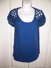 LUCKY BRAND Heathered CROCHET KNOTTED Sleeves Shirt Medium