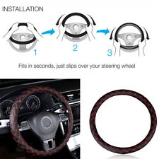 14''/15'' Black&Red Faux Leather Steering Wheel Cover Fits For Universal Car SUV