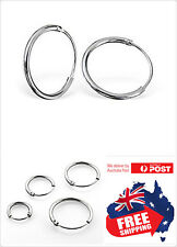 1pc S925 Sterling Silver 18g Sleeper Hoop Ring Lip Nose Ear Pircing Three Sizes