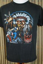 Vintage American Biker Black T-Shirt - 3D Emblem - Motorcycle Indian Skull