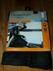 New~ ClimateRight Cuddl Duds Base Layer Stretch Fleece Black Leggings XXL (2XL)
