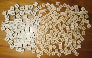 Vintage LOT 214 Small Wood Letter Tiles 2 Sizes - Assorted Alphabet Altered Art!