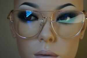 Oversized Vintage Retro Style Clear Lens Eye Glasses Flat Top Rimless Gold Frame