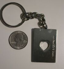 Nine & Co. Silver Tone Heart Cut Out Playing Card Purse Charm Key Chain #20442