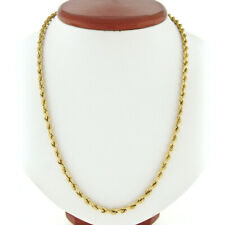 """Mens 14K Yellow Gold Long 30.5"""" 4.25mm Rope Link Chain Necklace w/ Box Clasp"""