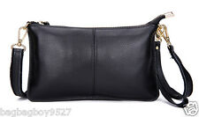 Genuine Leather Women's Fashion Handbags Lady's Clutch Purse Black Crossbody Bag