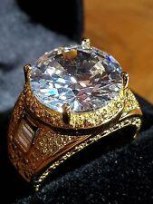 BILLIONAIRE MEN,S WHITE DIAMOND QUARTZ 18CT YELLOW GOLD FILLED RING SIZE 9US