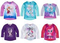 Girls Baby Toddler Teenage Disney Character Long Sleeve T-Shirt Top age 2-12 yrs