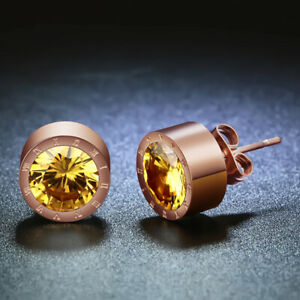 Rose Gold Round Yellow Crystal Anti Allergic Stainless Steel Earring For Women