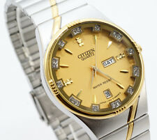 Citizen Quartz Man Day Date Two Tone Stainless Steel Gold Dial Analog Watch 139M
