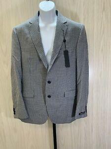 Kenneth Cole Reaction Slim Fit Plaid Sport Coat, Men's Size 43R, Black/White NEW