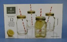 Boogaloo Mason Jar Glass Set of 4 Gibson Home with Straws