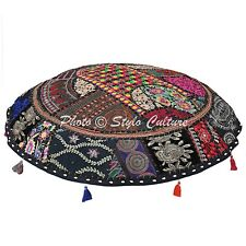 Indian Embroidered Floor Cushion Cover Handmade Patchwork Ottoman Pouf Cover