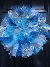 Winter Wreath Christmas Frozen  Blue Grey Silver Wreath Deco Mesh