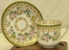 Antique Haviland Limoges France Demitasse Cup & Saucer Set Green Pink Roses Gold
