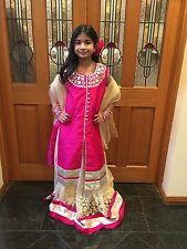 "34"" S Kids Lehenga Indian Bollywood Pink Cream Silk Lahenga Adult Size 6 8 K33"