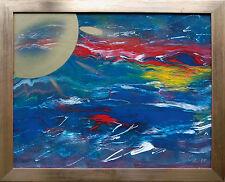 Golden Sun Goldene Sonne im Lichtermeer, Öl-Lack-Gemälde 1999 Jozsef Toth *1944
