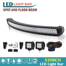 52inch 700W Curved Led Light Bar + 4'' Pods Roof Driving 4X4 Truck SUV Offroad