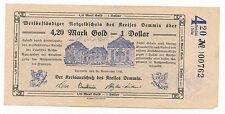 Demmin 4,20 Goldmark = 1 US Dollar 25.11.1923 Wertbeständiger Notgeldschein (762