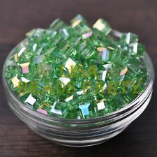 New 10pcs 8mm Cube Square Faceted Crystal Glass Loose Spacer Beads Lt Green AB
