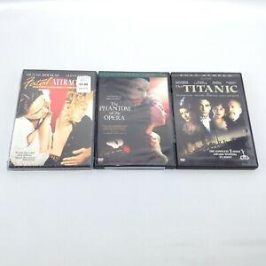 LOT 3 DVD Movies: FATAL ATTRACTION Phantom Of The Opera (Full) THE TITANIC Drama