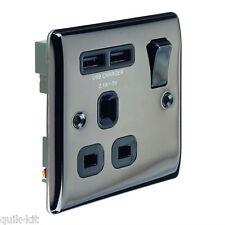BG NBN21U2B Black Nickel Single Switch Socket - 13amp with USB