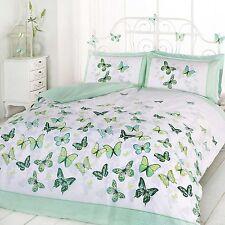 papillon Flutter DOUBLE JEU DE Housse et taie d'oreiller couette vert blanc