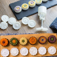 6Pcs Round Flower  Mooncake Pastry Moon Cake Mold Round Baking Mould Tools---