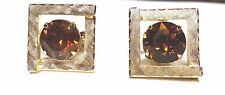 Gold Tone Cufflinks Large Topaz Rhinestone Center Vintage Cuff Links