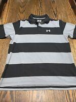Mens Under Armour Regular Heatgear Black Gray Striped Polo UA L Large Lg Shirt