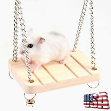 Wood Hamster Toy Swing Bell Rat Bird Mouse Exercise Cage Hanging Pet Supplies Us