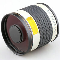 Jintu 500mm F/6.3 Telephoto Mirror Lens + T2 adapter for Canon EOS Camera White