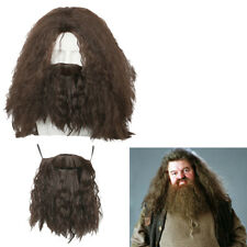 Hagrid Brown Wig Movie Harry Potter Caveman Hair Beard Halloween Cosplay Props