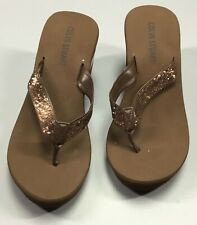 Colin Stuart Glitter Wedge Flip Flops Women's Size 7.5