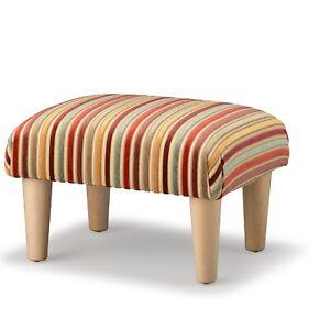 Biagi Upholstery & Design Green Red Gold Striped Chenille Velvet Footstool