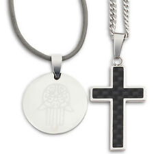 """Black Carbon Fiber Stainless Steel Cross Necklace 24"""" Curb Chain Hamsa Jewelry"""
