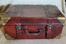 Vintage Leather Small Stacking Suitcase 1940s 1950s Travel Luggage