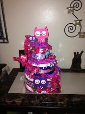 Owl Diaper Cake - Three Tier Diaper Cake - Custom - Towel Cake