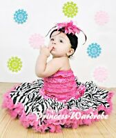 Hot Pink Zebra Full Pettiskirt with Hot Pink Lace Tube Top Set for Girls 1-8Y