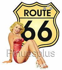 Pinup Girl Route 66 Waterslide Decal for guitars & smooth hard Surfaces S231