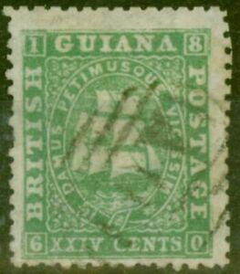 British Guiana 1864 24c Green SG64var Paper Makers Wmk Fine Used Ex-Fred Small