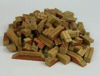 6 Pounds Of Vintage Wooden Architectural Building Blocks Brick Pattern