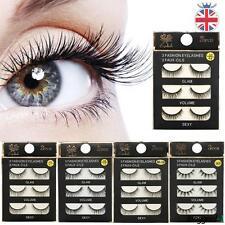 3 Pairs False Eyelashes 100% Real 3D Makeup Eye Lashes Handmade CA