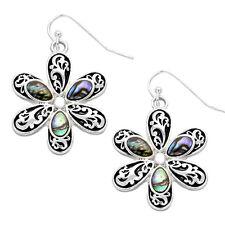 Daisy Flower Vine Filigree Fashionable Earrings - Fish Hook - Abalone Paua Shell