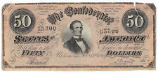 T66 Pf3 Cr497 1864 Csa Fifty Dollar Note $50 No. 35300