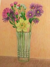 colored pencil drawing mixed spring flowers