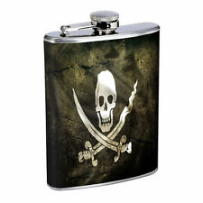 Vintage Pirate Ship D7 Flask 8oz Stainless Steel Hip Drinking Whiskey