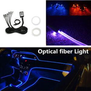 12V Car Interior RGB LED Strip Light Kit 8M Optical Fiber Bluetooth App Control